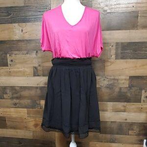 Faded Glory black midi skirt and pink top 2X